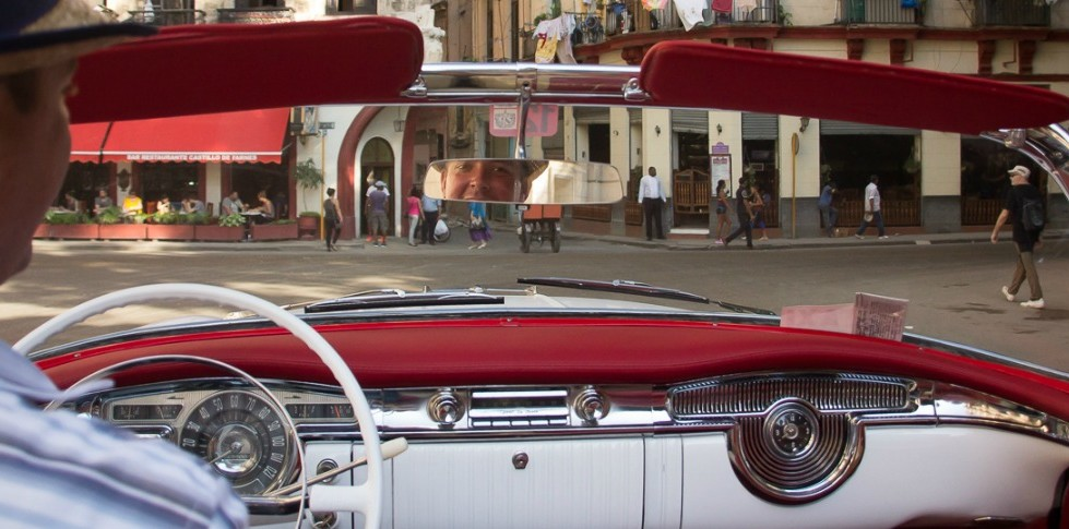 Fabio drivin our olds in a city tour in havana